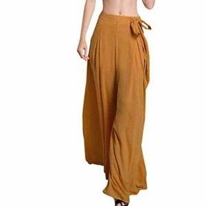Pants - Yellow wide leg harem pants